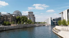 Fast motion establishing shot of the Reichstag and Government Buildings, Berlin Stock Footage