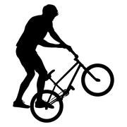 Silhouette of a cyclist male performing acrobatic pirouettes. vector illustra Stock Illustration