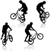 Set silhouette of a cyclist male performing acrobatic pirouettes. vector illu Stock Illustration