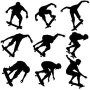 Set ilhouettes a skateboarder performs jumping. Vector illustration Stock Illustration