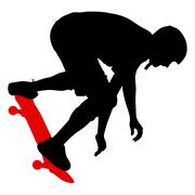 Silhouettes a skateboarder performs jumping. Vector illustration Stock Illustration