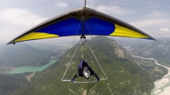 Hang glider, a front view in flight Stock Footage