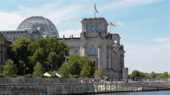 Fast motion locked down establishing shot of the Reichstag, Berlin, Germany. Stock Footage