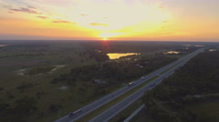 4K Aerial of Interstate 95 at Sunset Stock Footage