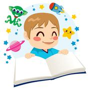 Boy Reading Science Fiction Book Stock Illustration