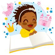 Girl Reading Fairy Tale Book Stock Illustration