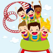 Roller Coaster Children Stock Illustration