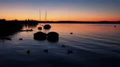 Beautiful Sunset on the Shore of Lake Balaton Stock Footage