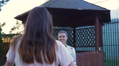 Two women are meeting ale greeting cheerfully. Stock Footage