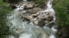 Gerlos stream flowing though the Wild-Gerlostal valley in Tirol/ Austria Stock Footage