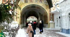 Inside view on the main entrance of the monastery, visitors Stock Footage
