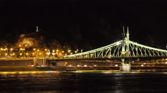 Budapest Time Lapse at Night. Lit Lanterns Chain Bridge over Danube River Stock Footage