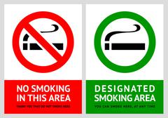No smoking and Smoking area labels - Set 1 Stock Illustration