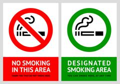 No smoking and Smoking area labels - Set 9 Stock Illustration