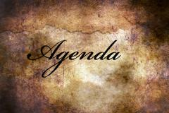 Agenda text on grunge background Stock Illustration