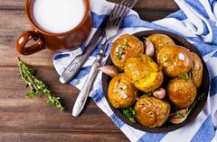Young baked potatoes Stock Photos