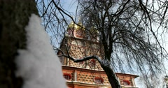 Sergius Monastery, gate Church of amazing beauty Stock Footage