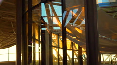 Sunset shine in glass architecture interior abstract futuristic modern building Stock Footage