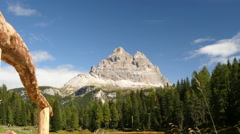 Time lapse clouds over tre cime de lavaredo zoom Stock Footage