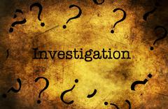 Investigation text on grunge background Stock Illustration
