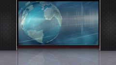 News TV Studio Set 222- Virtual Green Screen Background Loop Stock Footage