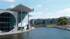 Fast motion locked down shot of  Marie-Elisabeth Luders Building, Berlin Stock Footage