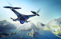 Camera drone flying over lake with mountains Stock Illustration