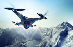 Camera drone flying over glacier rocky mountains Stock Illustration