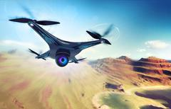 Camera drone flying over dry mountain coast Stock Illustration
