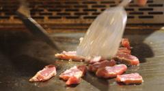 Chef Cooking Teppanyaki Stock Footage