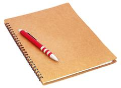 Spiral bound organizer with ballpoint Stock Photos