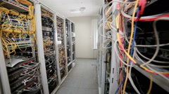 Supercomputer with cables and lamps. Close up Stock Footage