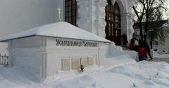 The tomb of Tsar Boris Godunov and members of his family Stock Footage