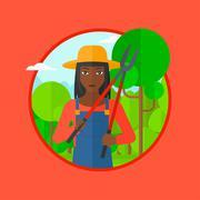 Farmer with pruner in garden vector illustration Stock Illustration