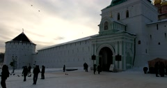 The main entrance to the monastery is the Holy gate, the beauty of a sunset Stock Footage