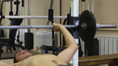Sport rests gym. After training of barbel bench Stock Footage