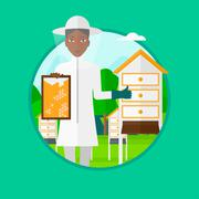 Bee-keeper at apiary vector illustration Stock Illustration
