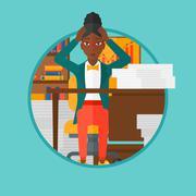 Despair woman espair sitting in office Stock Illustration