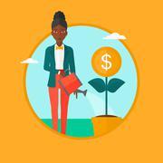 Woman watering money flower vector illustration Stock Illustration