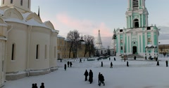 Holy Trinity Cathedral, architectural ensemble of Lavra Stock Footage