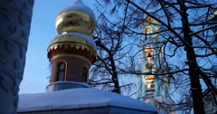 Evening dawn, chapel of the Holy Trinity-St. Sergius Lavra Stock Footage