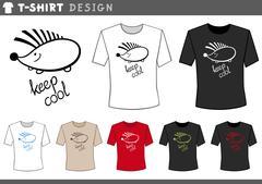 T shirt design with hedgehog Stock Illustration