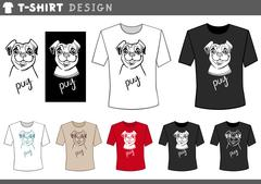 T shirt design with pug dog Piirros