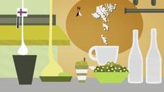 Faroe Islands - Vector Menu - Restaurant - Food and Drinks - yellow Stock Footage