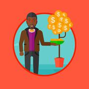 Man catching dollar coins vector illustration Stock Illustration