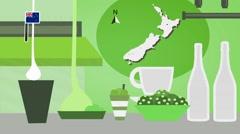 New Zealand - Vector Menu - Restaurant - Food and Drinks - green Stock Footage