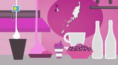 Palau - Vector Menu - Restaurant - Food and Drinks - pink Stock Footage