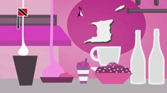 Trinidad and Tobago - Vector Menu - Restaurant - Food and Drinks - pink Stock Footage