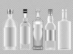 Vector set of transparent glass vodka alcohol Stock Illustration