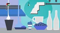 Western Sahara - Vector Menu - Restaurant - Food and Drinks - blue Stock Footage